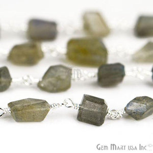 Labradorite Silver Plated Wire Wrapped Gemstone Rosary Chain