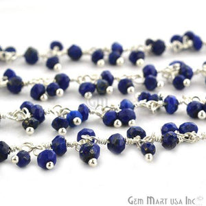 Lapis Faceted Cluster Beads Silver Plated Wire Wrapped Dangle Rosary Chain