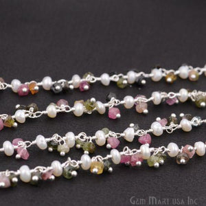 Multi Tourmaline & Pearl Beads Silver Plated Cluster Dangle Chain