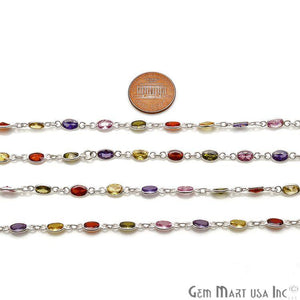 Multi Color Zircon Oval 6x4mm Silver Plated Continuous Connector Chain