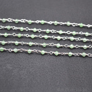 Prehnite Silver Plated Wire Wrapped Gemstone Beads Rosary Chain