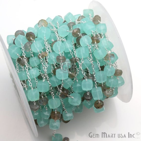 Aqua Chalcedony & Labradorite Gemstone Beads Silver Plated Link Rosary Chain