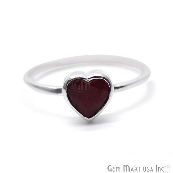 Silver Plated Heart Shape Single Gemstone Solitaire Ring (SP-12009)