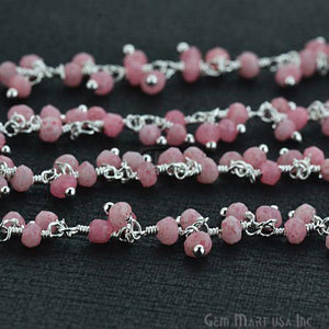 Rose Chalcedony Faceted Beads Silver Plated Cluster Dangle Chain