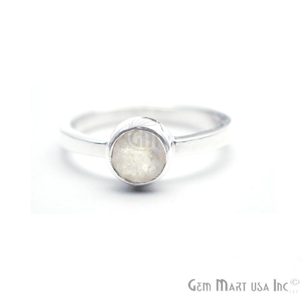 Silver Plated Round Shape Single Gemstone Solitaire Ring (Pick your stone and size) (SP-12007)