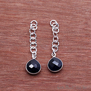 Heart Shape 10mm Silver Plated Gemstone Dangle Connector - 1pc
