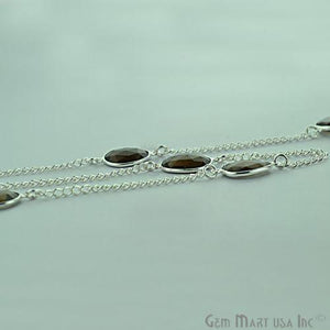 Smoky Topaz 10-15mm Silver Plated Bezel Link Connector Chain