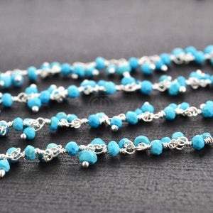 Turquoise Faceted Beads Silver Plated Cluster Dangle Rosary Chain
