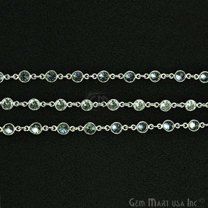 White Zircon 5mm Round Silver Plated Bezel Continuous Connector Chain