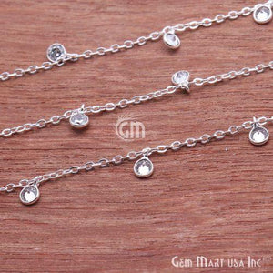 White Zircon Bezel Silver Plated Dangle Fancy Rosary Chain