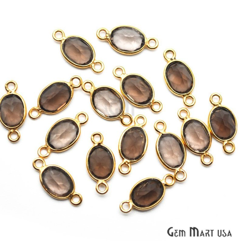 Oval 7x5mm Gold Plated Bezel Gemstone Connector (Pick Your Gemstone)