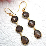 Smoky Topaz 47x11mm Gold Plated Long Dangle Drop Hook Earring (STER-90228)