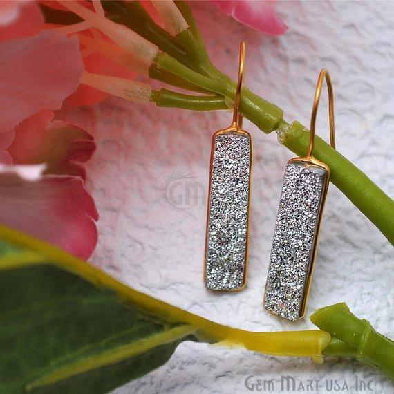 Silver Druzy Rectangle Shape 30x8mm Gold Hook Dangle Earring (SZER-90198)