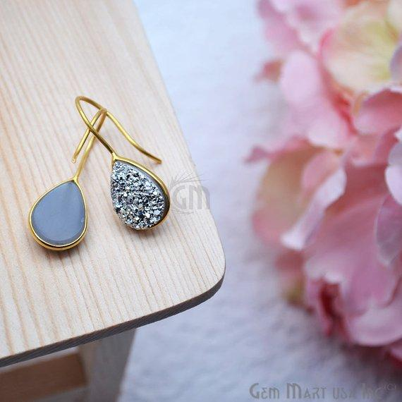 Druzy Earring 15x12mm Pears Gold Plated Gemstone Dangle Hook Earring Choose Your Style (90202-1)