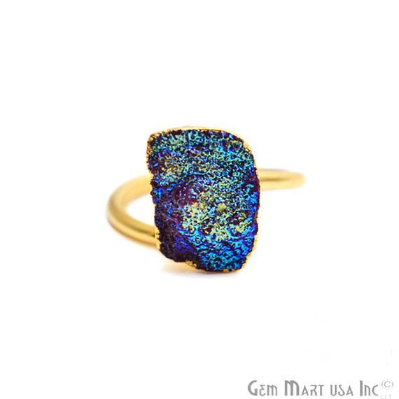 Gold Electroplated Titanium Druzy Adjustable Statement Band Ring (TDRG)
