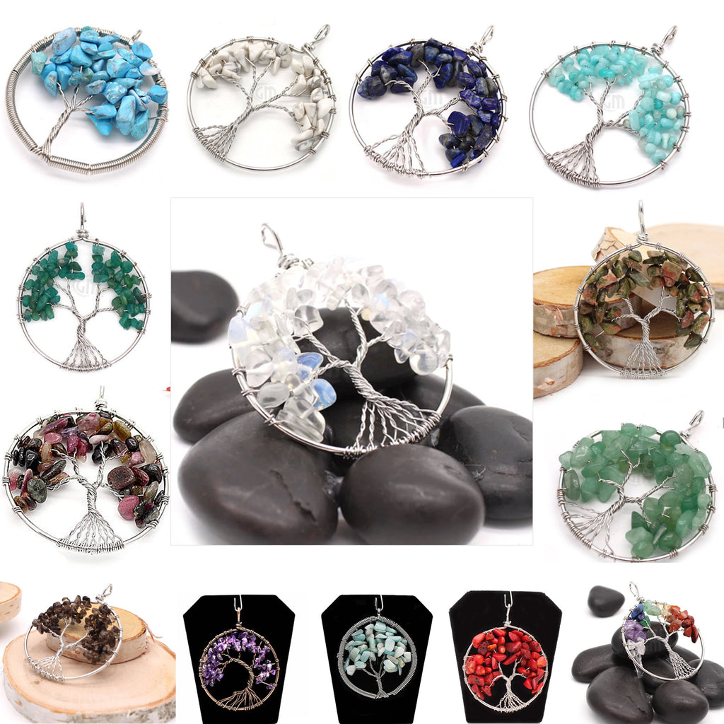Gemstone 45mm Round Tree Of Life Pendant Gemstone Wire Wrapped Necklace Pendant (TOL-1) (Pick your stone)