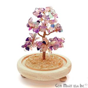 Fluorite Handcrafted Tree Of Life, Glass Box Enclosed Tree, Home decor, Crystal encrusted Tree, Healing Gemstones, Ornamental Decoration - GemMartUSA