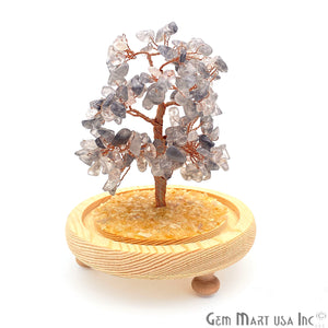 Grey Chalcedony Handcrafted Tree Of Life, Glass Box Enclosed Tree, Home decor, Crystal encrusted Tree, Healing Gemstones, Ornamental Decoration