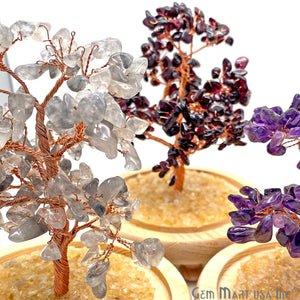Grey Chalcedony Handcrafted Tree Of Life, Glass Box Enclosed Tree, Home decor, Crystal encrusted Tree, Healing Gemstones, Ornamental Decoration - GemMartUSA