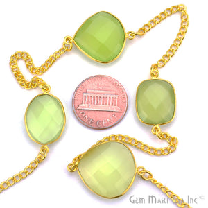Green Chalcedony 15mm Gold Plated Bezel Link Connector Chain