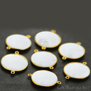 White Agate 20mm Gold Plated Double Bail Gemstone Connector