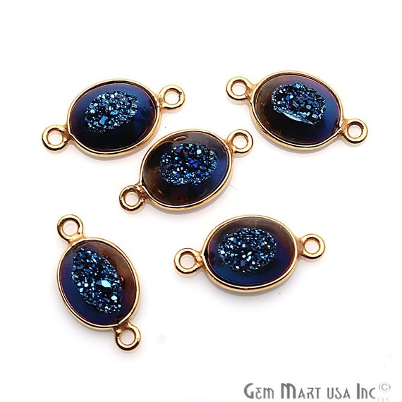 Window Druzy 8x10mm Oval Shape Bezel Cave Druzy Gemstone Connector (Pick Your Color, Bail, Plating)