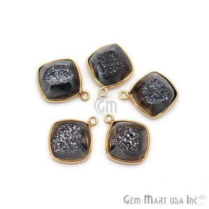 Window Druzy 12mm Cushion Shape Bezel Cave Druzy Gemstone Connector (Pick Your Color, Bail, Plating)