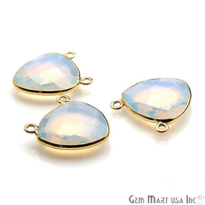 White Opal 17x20mm Trillian Shape Gold Plated Gemstone Connector