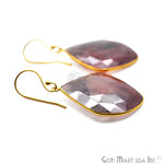 Wonder Sapphire 24X35MM Gold Plated Gemstone Dangle Hook Earrings (WSER-90548)