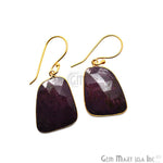 Wonder Sapphire 25X18MM Gold Plated Gemstone Dangle Hook Earrings (WSER-90550)