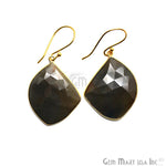Wonder Sapphire 23X32MM Gold Plated Gemstone Dangle Hook Earrings (WSER-90551)