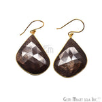 Wonder Sapphire 25X36MM Gold Plated Gemstone Dangle Hook Earrings (WSER-90566)