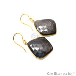 Wonder Sapphire 26X30MM Gold Plated Gemstone Dangle Hook Earrings (WSER-90568)