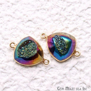 Window Druzy 14mm Trillion Bezel Cave Druzy Gemstone Connector (Pick Your Color, Bail, Plating)