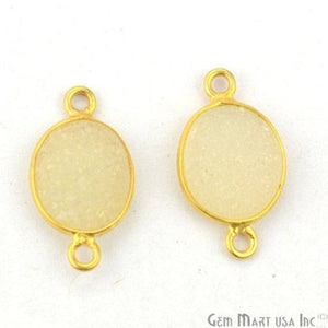 Color Druzy 8x10mm Oval Bezel Gold Plated Double Bail Gemstone Connector (Pick Color) (11149)