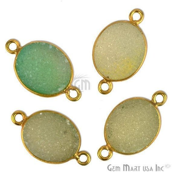 Color Druzy Connector 10x12mm Oval Shape Gold Plated Double Bail Gemstone Connector (Pick Your Color) (11146)