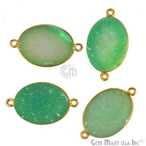 Color Druzy 15x20mm Oval Bezel Gold Plated Bail Gemstone Connector (Pick Your Color, Bail)