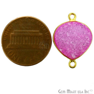 Pink Colored 14mm Heart Gold Plated Druzy Connector