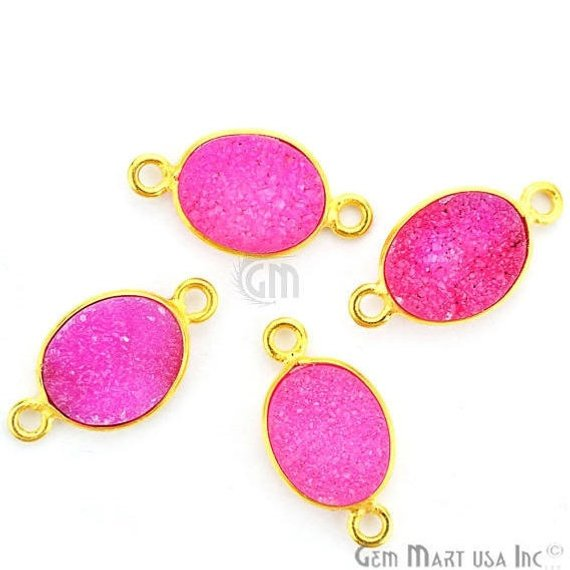 Color Druzy 8x10mm Oval Bezel Gold Plated Double Bail Gemstone Connector (Pick Your Color) (11149)