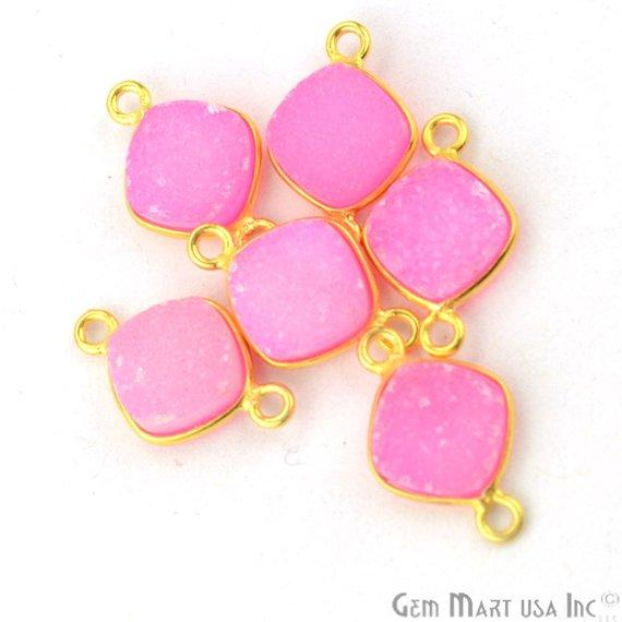 Color Druzy Connector, 8mm Cushion Shape Bezel Gold Plated Gemstone Connector 1pc Choose Your Color