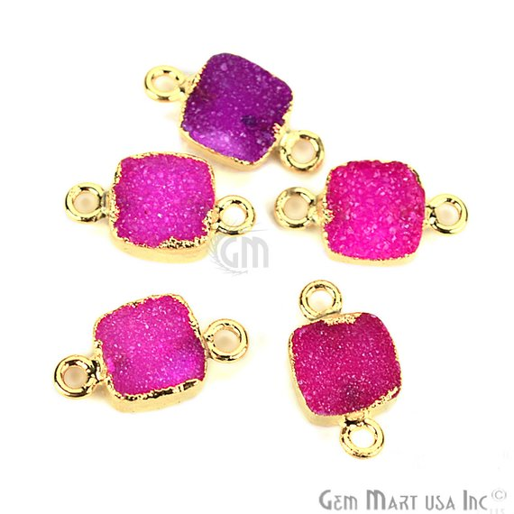 Gold Electroplated Druzy 8mm Square Shape Double Bail Druzy Gemstone Connector (Pick Your Color)