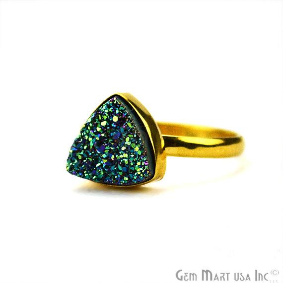 Gold Plated 10mm Trillion Shape Gemstone Druzy Statement Ring (12006-1)