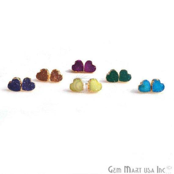 Druzy Studs, 10mm Heart Shape Gold Electroplated Post Setting Druzy Earring 1 Pair Choose Your Style (90018-1)