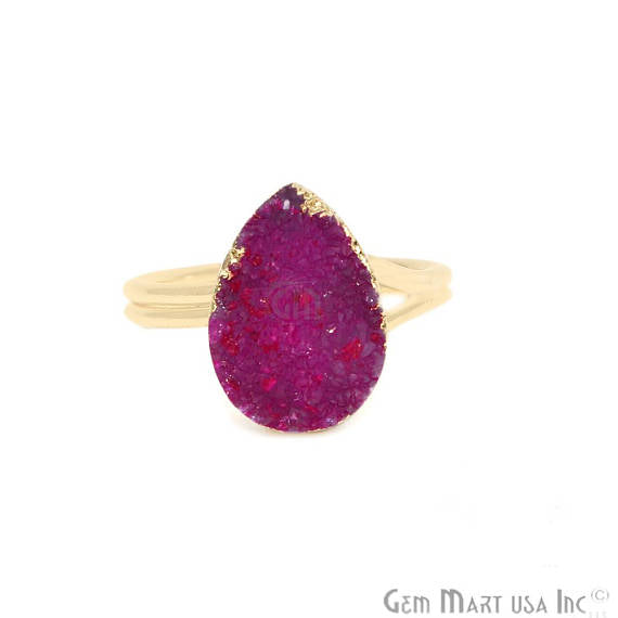 Gold Electroplated Pears Shape Pink Druzy Statement Ring (ZPRG-12003)