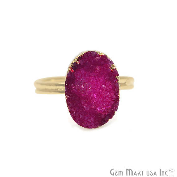 Gold Electroplated Oval Shape Pink Druzy Statement Ring (ZPRG-12005)