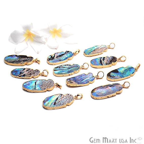 Abalone Pendant, 40X18mm Gold Electroplated Fancy Oval Shape Gemstone Shell Pendant (AB-50067)