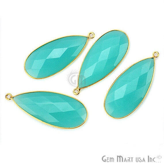 Aqua Chalcedony Connector Pears Shape 24k Gold Plated Single Bail Connector (AD-10367)
