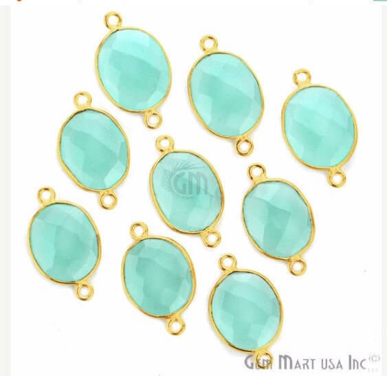 Natural Aqua Chalcedony Connector Oval Shape 24k Gold Plated Double Bail Connector (AD-11515)