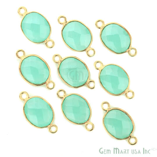 Natural Aqua Chalcedony Connector Oval Shape 24k Gold Plated Double Bail Connector (AD-11536)