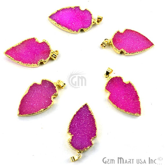 Pink Druzy Arrow Heads Pendant, 29x15mm Electroplated Gold Edged Arrow Heads Pendant (AHDZ-50002)